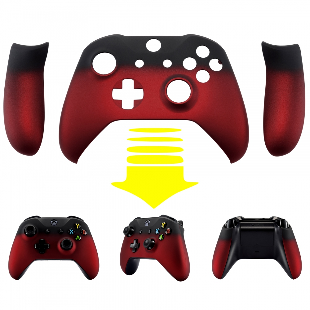 Front Shell Faceplates Side Rails For Xbox One X & One S Controller Shadow Red