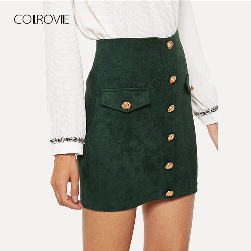 47d8c115a9 COLROVIE Green Solid Elegant Button Sexy Skirt 2018 Autumn Office Lady  Pencil Mini Skirts Women High Waist Bodycon Girls Skirts -in Skirts from  Women's ...