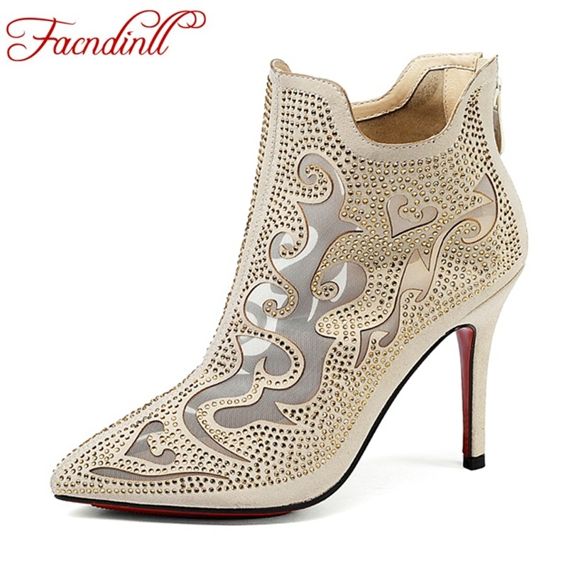 leather ankle boots for women sexy cut-outs ladies sandals pointed toe high heel sandals women rhinestones summer party shoes sexy pointed toe sheepskin leather high heeled shoes straps ankle wrap sandals women thin heels ol summer boots sandals