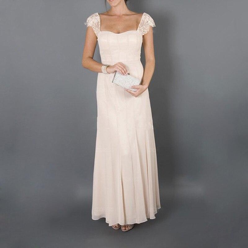 2019 élégante mère des robes de mariée avec veste Cap manches chérie décolleté une ligne longue en mousseline de soie robe pour la fête de mariage - 4