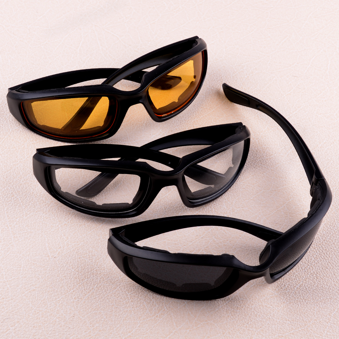 3 Pair Motorcycle Sports Biker Riding Glasses Padded Wind Resistant Sunglasses