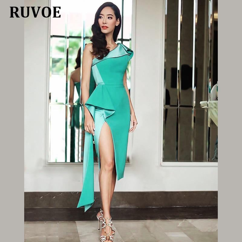 Nude Mint Color Women Summer Party Dress 2018 New Arrival Elegant High Slit One Shoulder Knee -7228