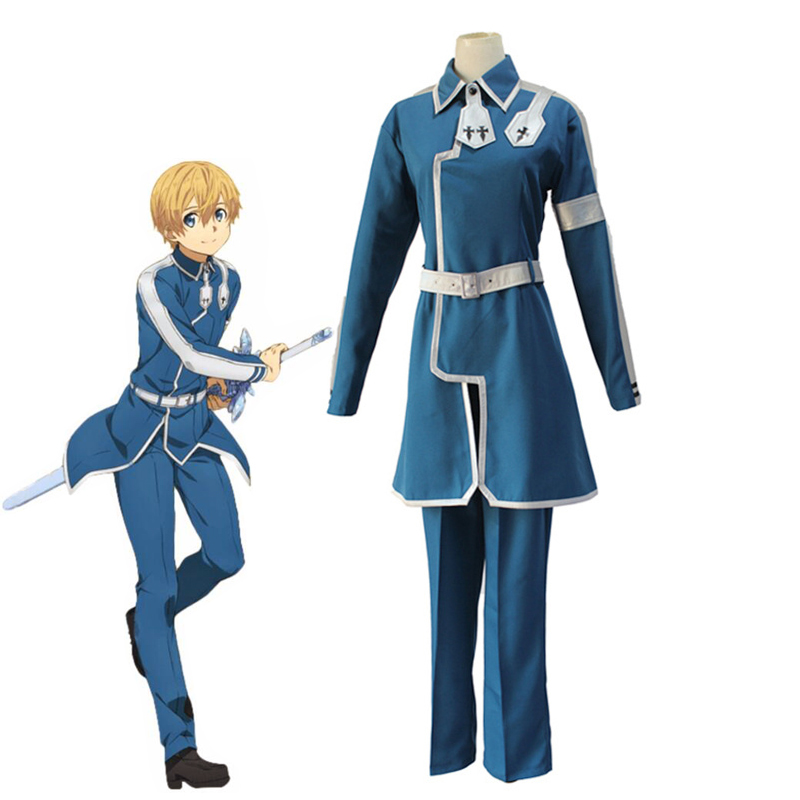 Anime Sword Art Online Alicization Eugeo Synthesis Thirty-two Cosplay Costumes SAO Blue Uniform ( Top + Pants + Belt )