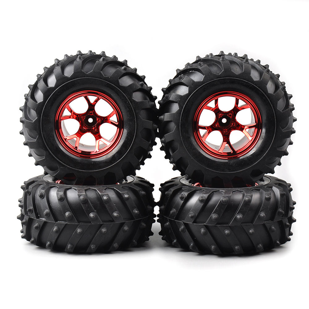 4 PCS/Set Rubber rubber wheels for toys Bigfoot Tires Tyre Red Wheel Rim For 1/10 Rc Truck Car 3002R rc car tire & wheel 4pcs rc crawler truck 1 9 inch rubber tires