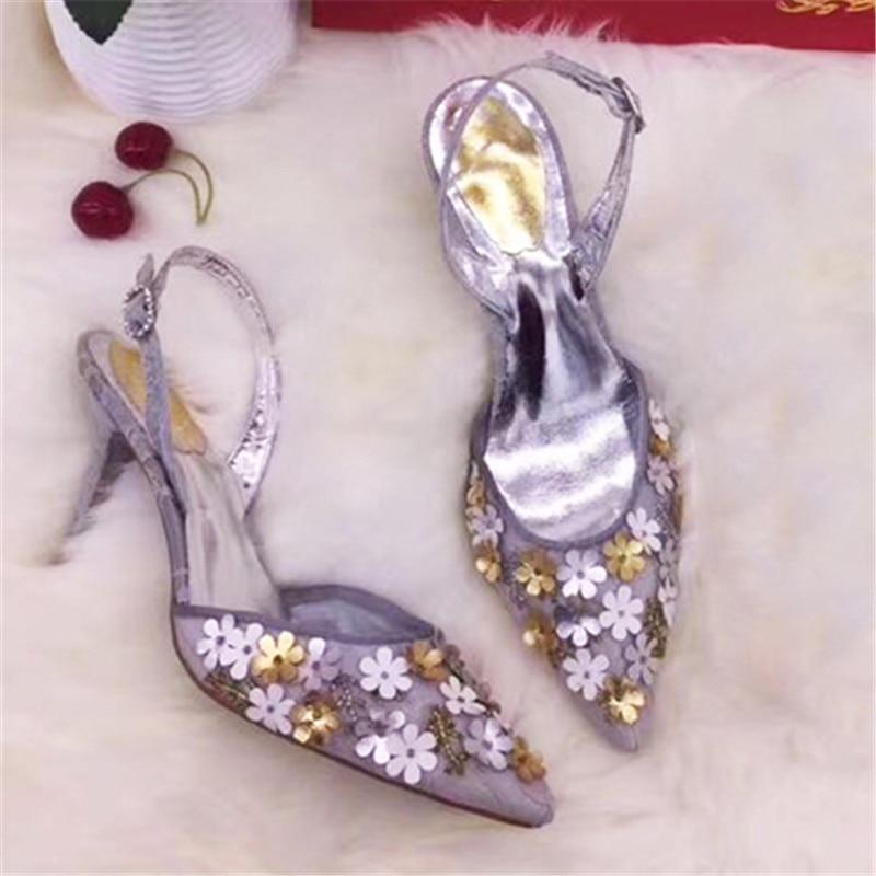 Mode Talons Sandlias as Slingback Strap Bout Pompes Show Glitter Été Pointu Hauts Show Strass As Chaussures Femme Parti Stilettos Mujer Boucle wa5vqtA