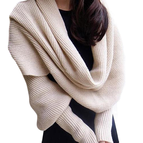 2016 Top Quality  Women Solid Scarf With Sleeve Crochet Knit Long Soft  Winter Shawl Scarves Retail/Wholesale  5C1R 7F9S