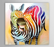 Oil Painting Canvas Painting Pure Handpainted Poster Decoration Laughing Zebra Oil Painting Animal Art Canvas Set Wall Painting(China)