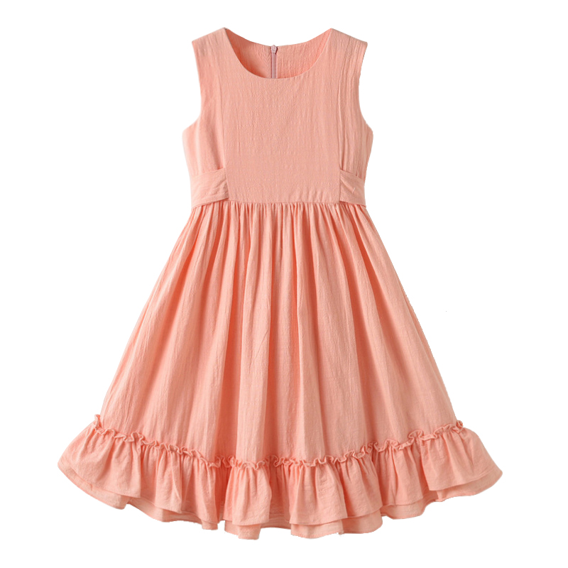 2019 summer new girl cotton linen long dress kids sleeveless princess dresses girls lovely one-piece 3- 14 yrs children sundress