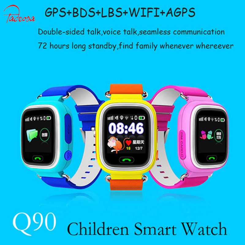 купить Hot GPS Q90 Smartwatch Touch Screen WIFI Positioning Children Smart Wrist Watch Locator PK Q50 Q60 Q80 for Kid Safe Anti-Los