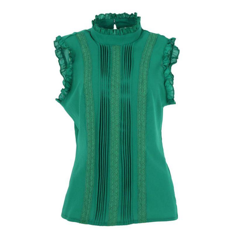 Tee Blusa blanco Verde Oficina Vogue Camisas Moda 2018 Verano Nueva Tops Colores 2 Ruffle Cuello Manga Señora Casual Estilo Mujeres 6pUZ1