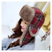 Newly Checkered Winter Bomber Hat For Women Men Russian