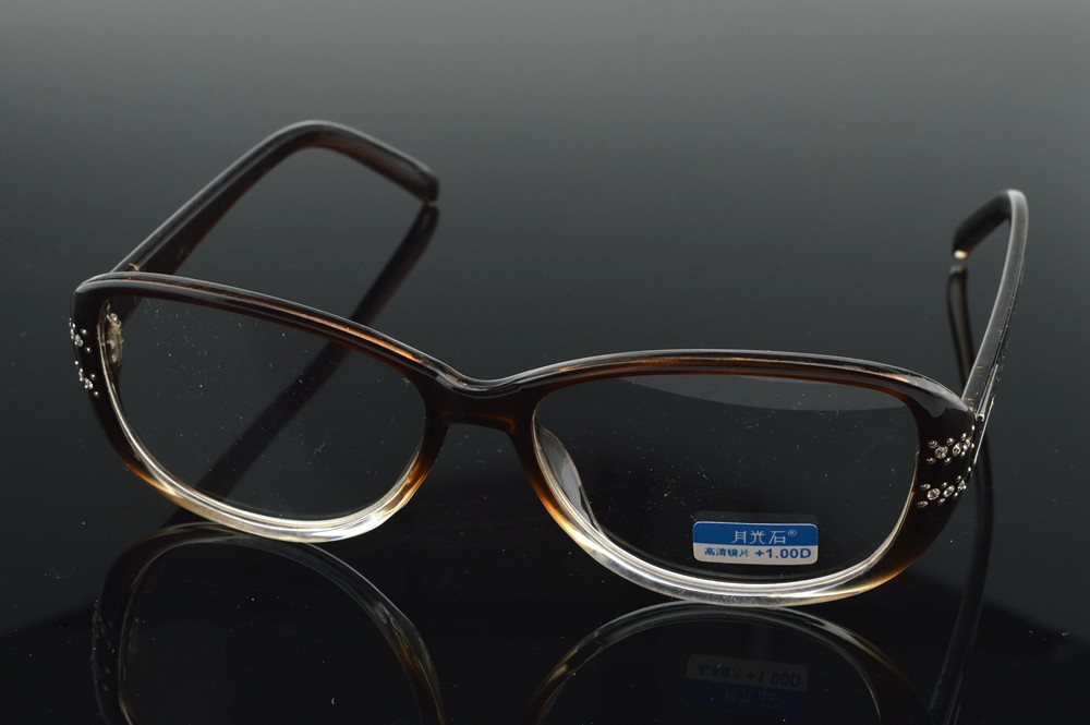 =CLARA VIDA = Full-Rim Gradient Brown Frame More Noble Diamonds Men Women Reading Glasses +4.5 +5 +5.5 +6 +6.5 +7 +7.5 to +13