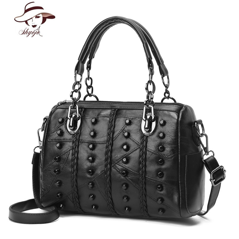 Genuine Leather New Fashion Famous Brand Rivet Knitting Black Women Bag Female Messenger Bags Large Tote Ladies Shoulder Handbag new genuine leather women bag messenger bags casual shoulder bags famous brand fashion designer handbag bucket women totes 2017