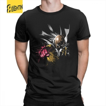 One Punch Hero T Shirt Short Sleeved Simple Style T-Shirts Purified Cotton Crewneck Men's Tee Shirt Printing Japanese Comic Plus