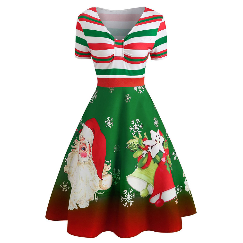 Christmas Dresses Womens.Robe De Noel Christmas Dress Women Xmas Santa Claus Stripe