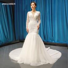 J66602 jancember v-neck long sleeve lace wedding dress mermaid with train floor length up back bridal new design 2019
