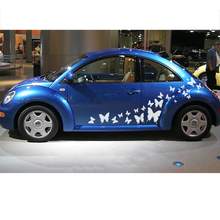 free shipping 2PC cute personality side door Racing Styling butterflies vinyl graphic striping decals for MINI SMART Beetle on