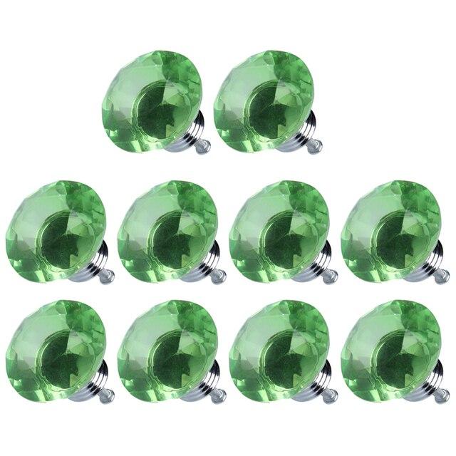 LHLL-10pcs Diamond Shape Crystal Glass Drawer Pull Handle Knob (Green)