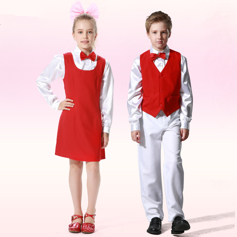 Retro England Royal Style Noble Red and White Kids Performance Wear Children Bowtie Clothing Set Boy Girl Dance Chorus Costumes