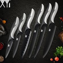 XYj кухня нержавеющая сталь ножи комплект 6 шт. высокоуглеродистой лезвие пластик ручка шеф повар хлеб нарезки Santoku утилита для очистки