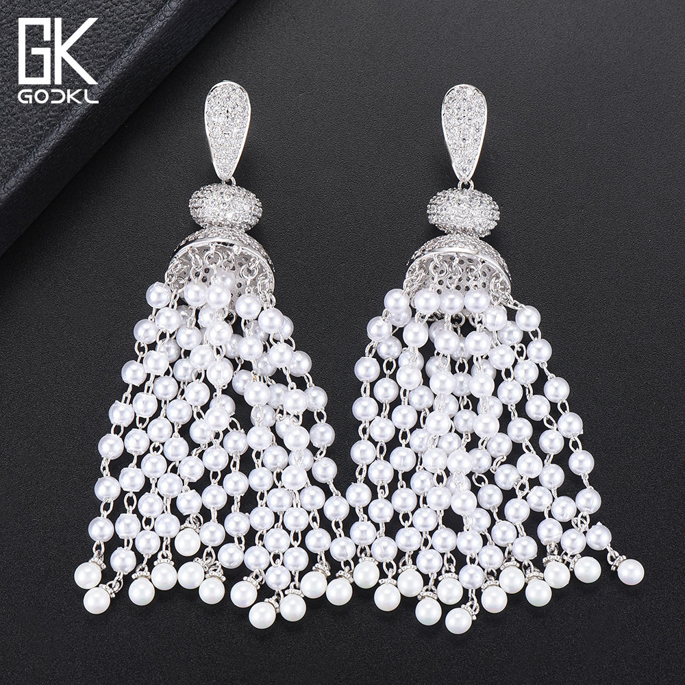 GODKI Luxury Imitation Pearls Tassels Long Dangle Earrings For Women Wedding Cubic Zircon Dubai Bridal Drop Earrings 2018