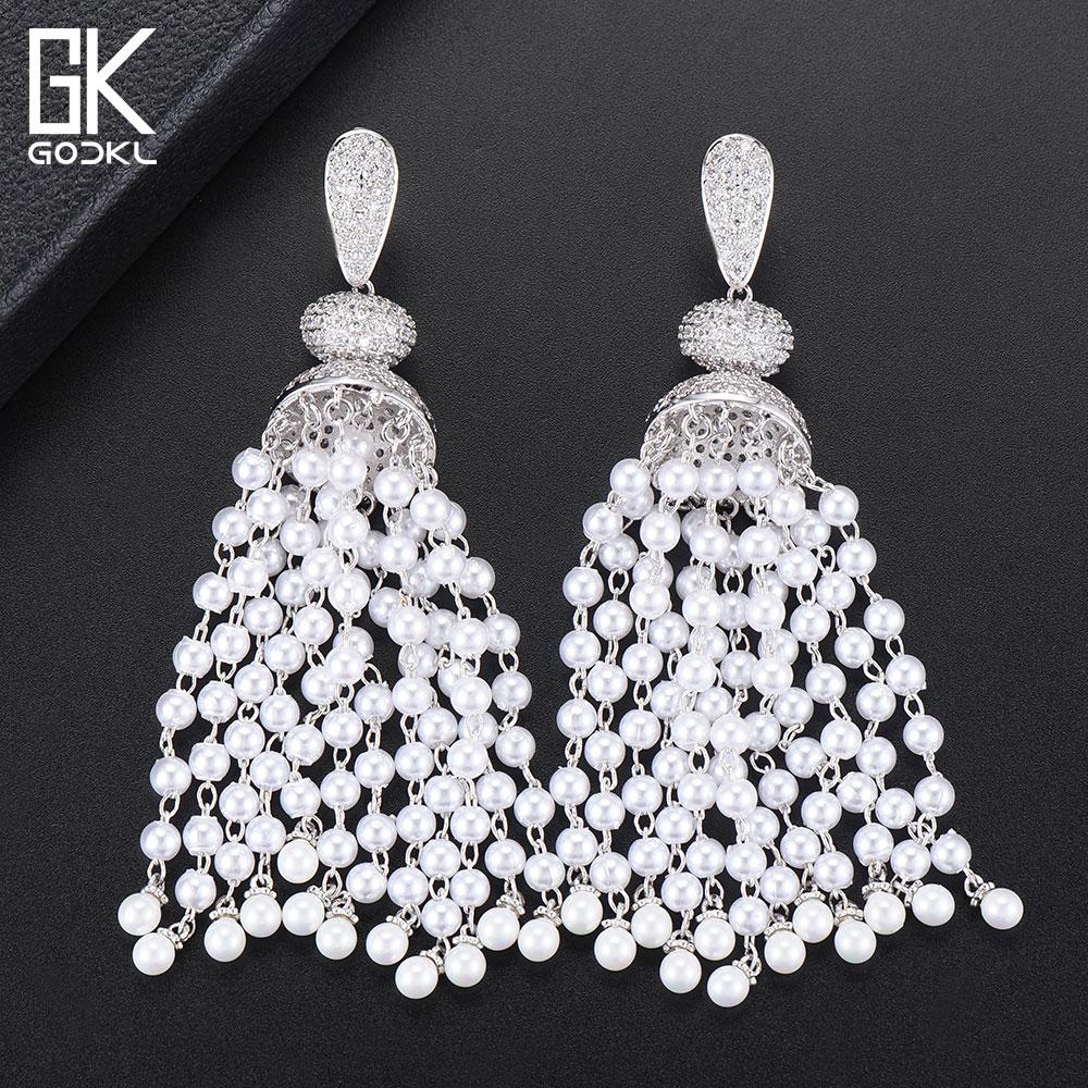 GODKI Luxury Imitation Pearls Tassels Long Dangle Earrings For Women Wedding Cubic Zircon Dubai Bridal Drop Earrings 2018