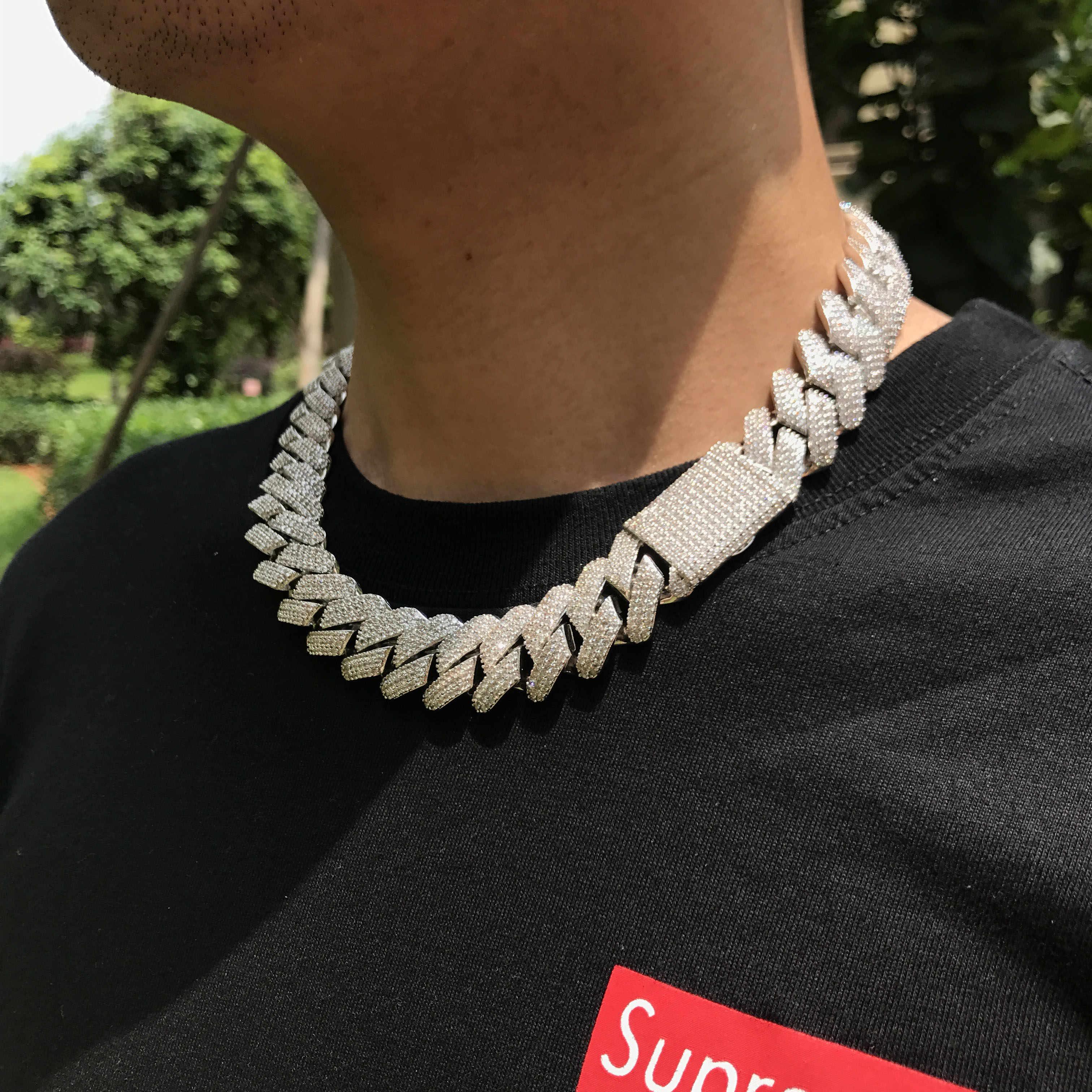 Ciężki łańcuch kubański link dla mężczyzn hurtownia biżuterii mrożony łańcuch kubański link