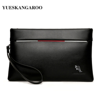 YUES KANGAROO Brand Large Capacity Soft Leather Casual Envelope Wallets Youth Mobile Phone Handy Purse Fashion