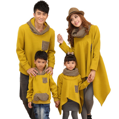 Family Matching Hoodies Dad Son Long Sleeve Pullover Mother Daughter Long Clothes Orange Stripe Family Matches Outfits 3-7 Years