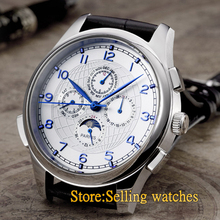 Parnis 44mm Blue hands Moon Phase Multifunction Automatic movement men's watch