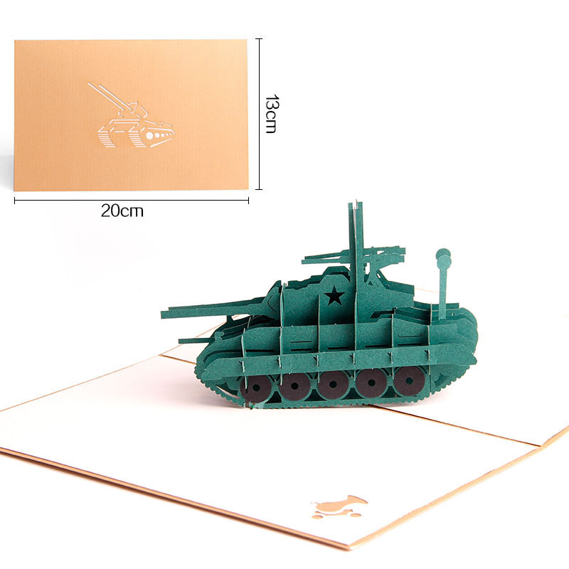 3D Shape Laser Cut Handmade Armored tank Paper Greeting Card Military fan present boy Birthday party bussiness Creative Gift ...