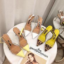 DONLEE QUEEN 2019 Ankle Strap High Heel Sandals Shoes Women Party Dress Leopard Transparent Slides Chaussure Femme