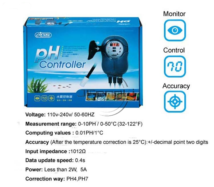 JFENGLI ISTA PH Automatic Detection Controller Monitor  Probe Included For Both Fresh Sea Water Accuracy PH4 PH7 Tank Aquarium