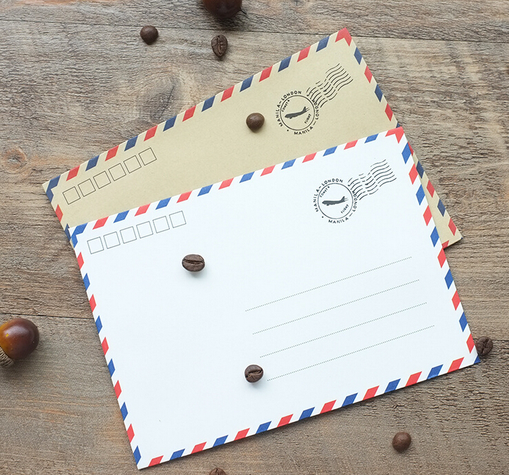 (125*175mm)20pcs/lot Vintage Paper Envelopes Kraft Airmail Envelopes For Postcard Letter Miyazaki Storage Envelope 6590