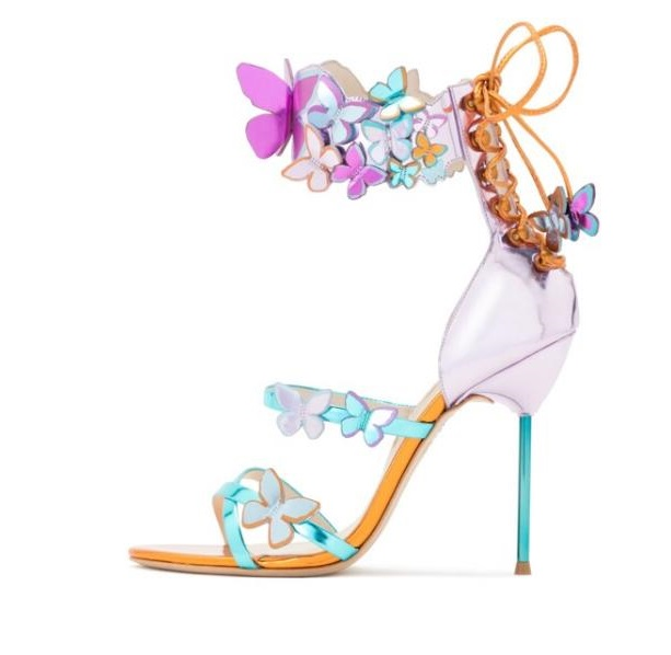 Sexy Butterfly Crystal Embellished Sandals Multi-coloured Laser-cut Sandal High Heels Women Gold-tone Stiletto Heels Sandal цена