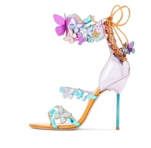 Sexy Butterfly Crystal Embellished Sandals Multi-coloured Laser-cut Sandal High Heels Women Gold-tone Stiletto