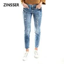 Autumn Winter Women Denim Skinny Pants Stretch Destroyed Low Waist Acid Snow Blue Slim Elastic Ripped Lady Jeans
