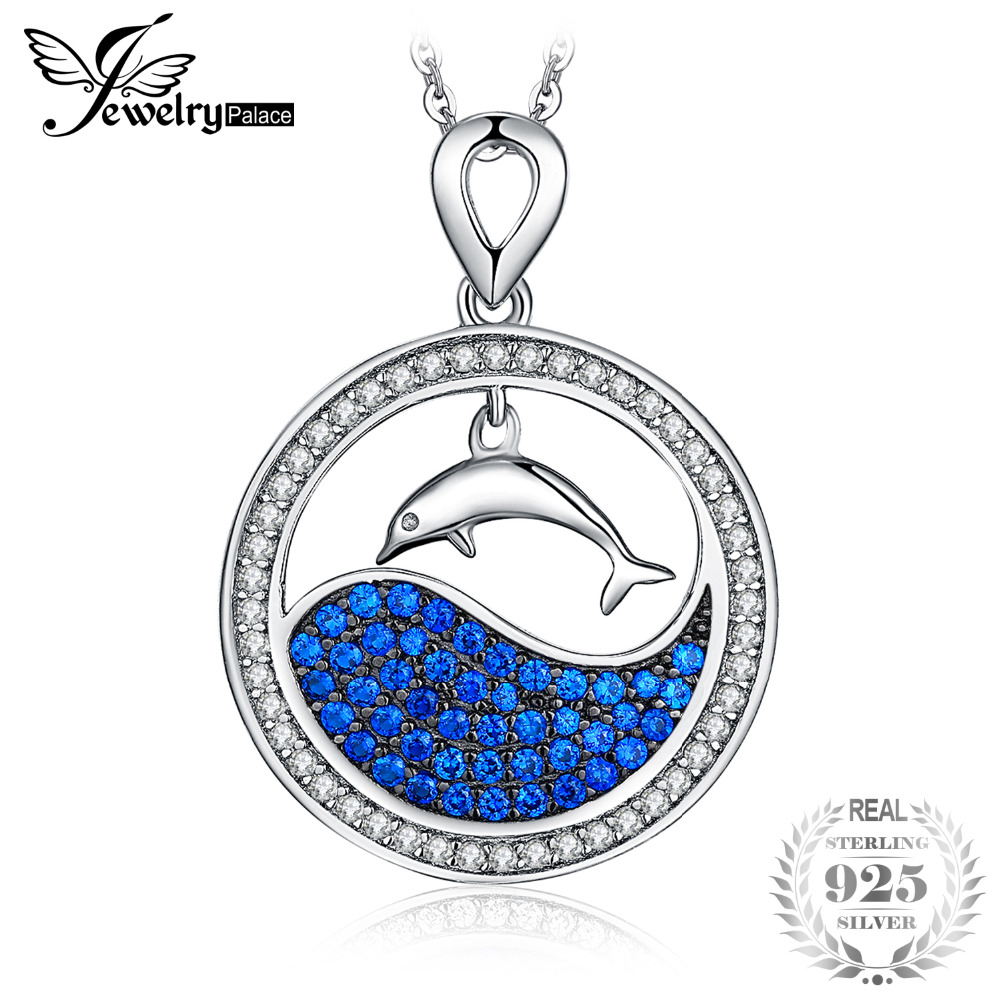 JewelryPalace 925 Sterling Silver Pendants Necklace Dolphin Jump Out Of Ocean Blue Spinels Halo Pendants  Without ChainJewelryPalace 925 Sterling Silver Pendants Necklace Dolphin Jump Out Of Ocean Blue Spinels Halo Pendants  Without Chain
