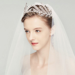 Image 3 - HIMSTORY Luxury Clear Crystal Olive Branch Wedding Headband Tiaras Crown Wholesale Hairband Princess Hair Accessories