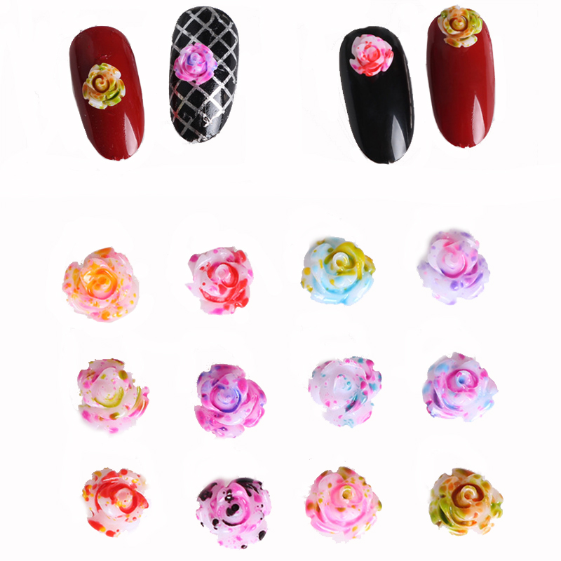 Aliexpress.com : Buy 12 Color Rose Flower Nail Art Wheel Charms 3D ...