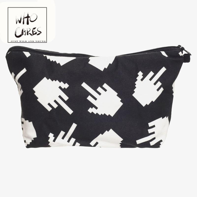Finger 3D Printing Black Cosmetic Cases Women Makeup Bag Fashion New Hot Sales Cosmetic Bag Necessaries Para Mulheres Maquiagem