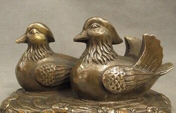 "xd 002966 6"" Folk Chinese Bronze Copper 2 Love Bird Mandarin Duck Aix Galericulata Statue"