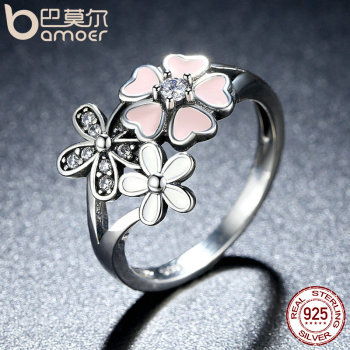 BAMOER 925 Sterling Silver Pink Flower Poetic Daisy Cherry Blossom Finger Ring for Women Engagement Fashion Jewelry SCR004 1
