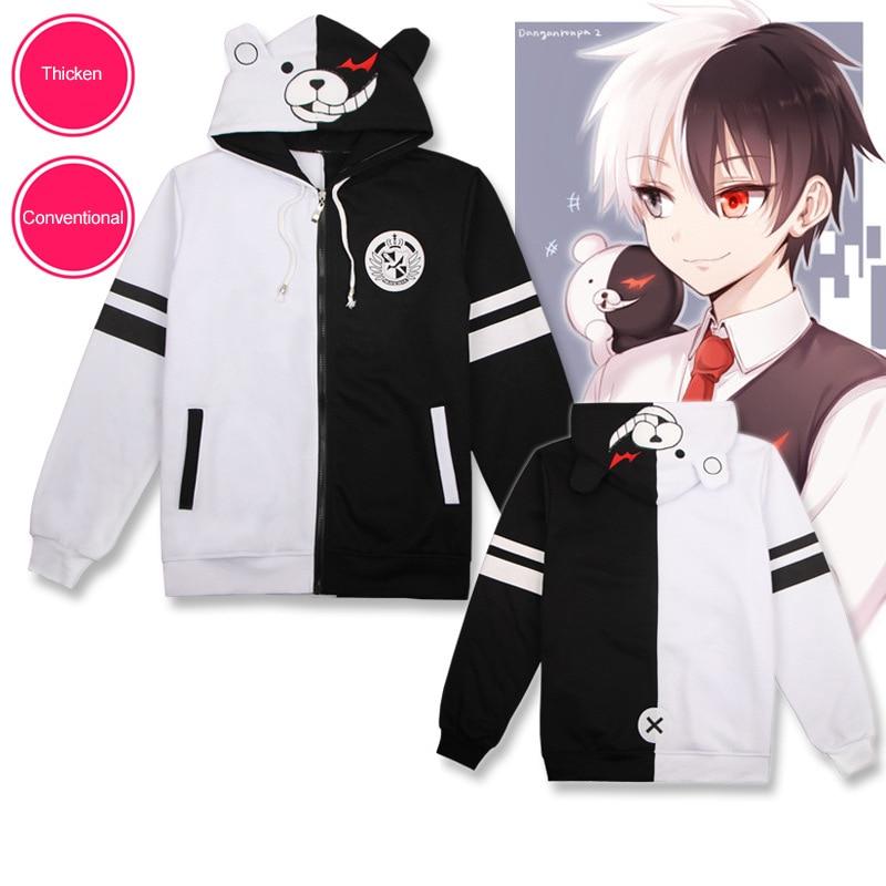 Cosplay Anime Danganronpa Monokuma Costume Unisex Hoodie Sweatshirt Hooded Black White Bear Long Sleeve Daily Casual Coat