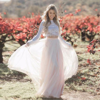 Eightale Two Piece Wedding Dress Boho O Neck Lace Ling Sleeve Wedding Gowns Princess Tulle Bridal Dress 2019 Free Shipping