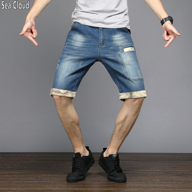 82 Summer thin loose plus size patchwork military shorts denim short men Knee Length Lightweight Straight Jean size 28-48