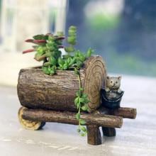 Garden Decoration Cartoon Bonsai Flowerpot Wood Flower Pots Micro Landscape Ornaments Planter Pot for Home Indoor Succulents