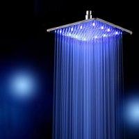 Ultra thin Rainfall LED Shower Head 10 Inch 25CM*25CM Square Stainless Steel Chrome Rain Shower Heads Bathroom Accessories