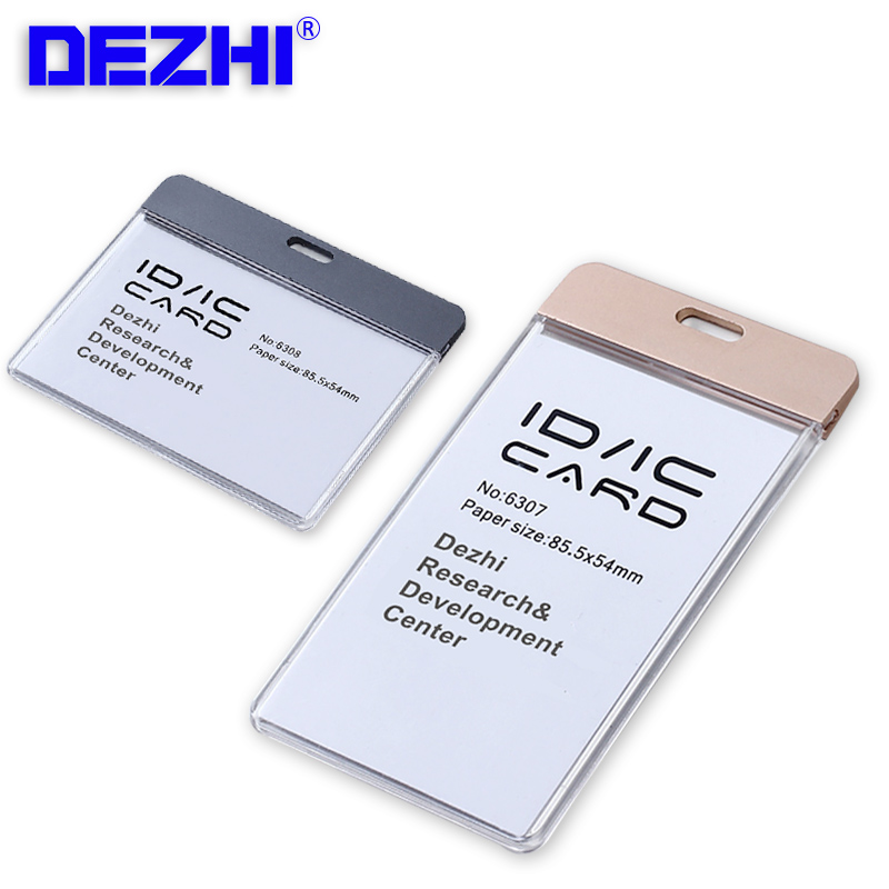 Brand New Horizontal Vertica ID IC Card Case Badge Holder Without Lanyard,Acrylic Transparent Card Holder With Metal Fasteners