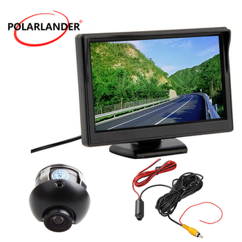 Night Vision Plug-In Rear Cam Reversing Camera Parking Monitor HD Desktop 5 Inch TFT Screen 18.5mm LED Bus/Car With Lamp 12-24V image